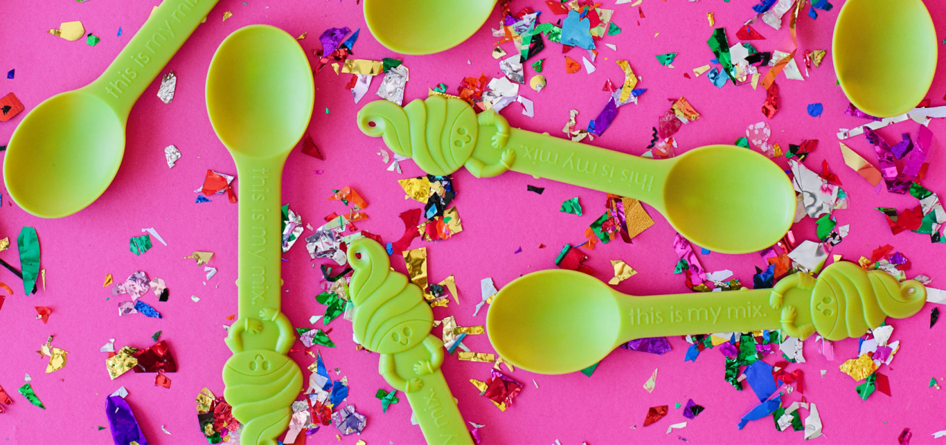 A variety of Menchie's spoons