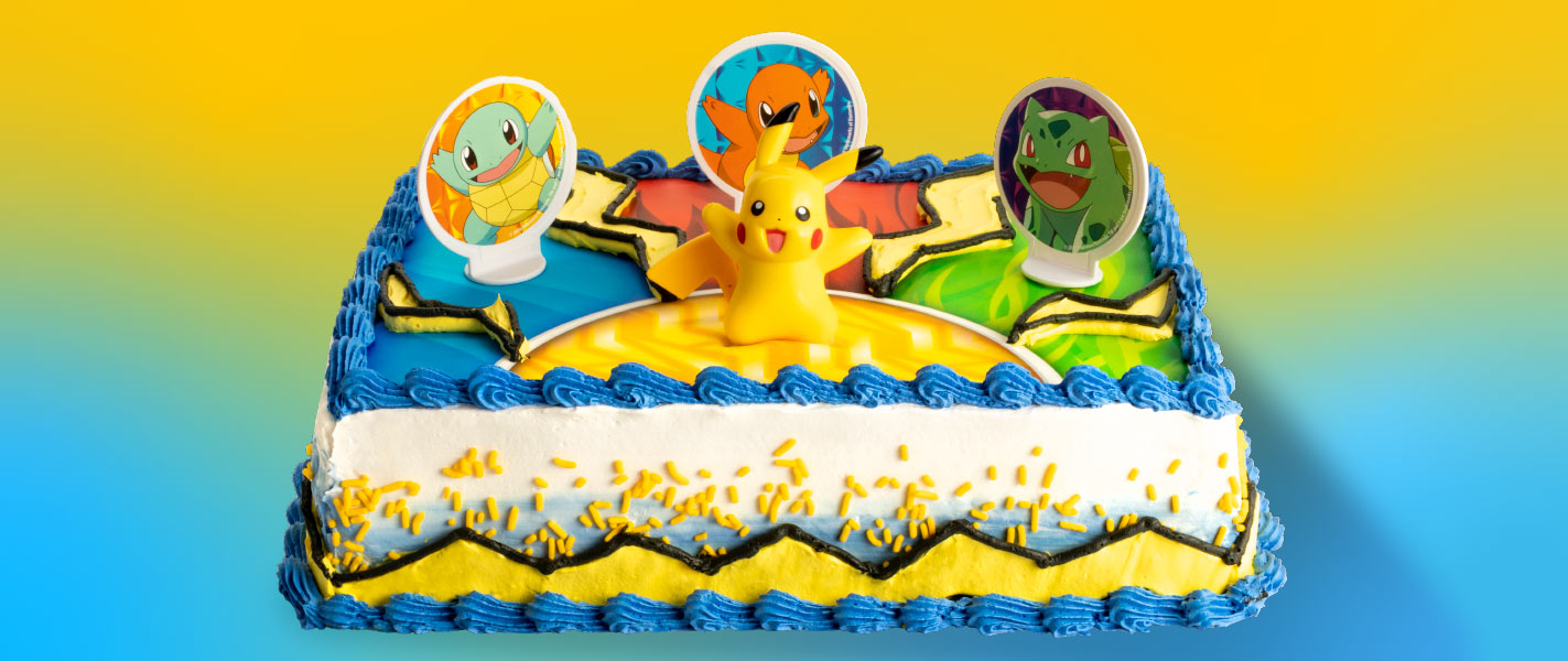 A cake with Pokemon characters on it