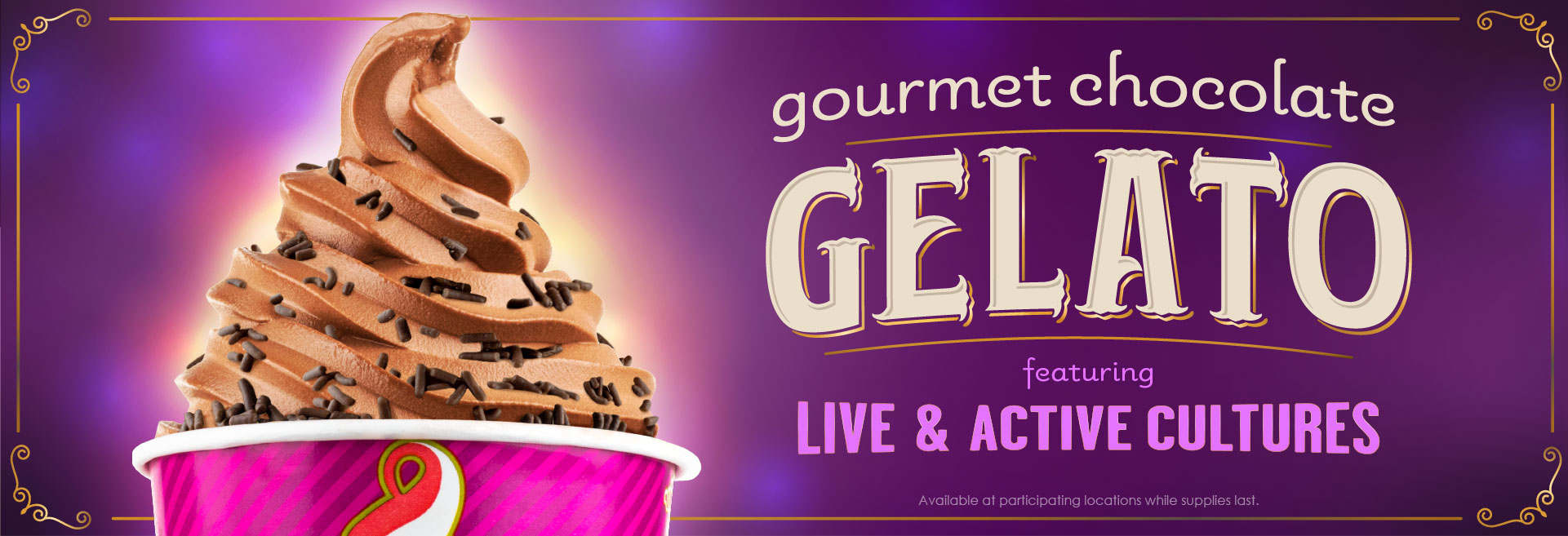 An image of Gourmet Chocolate Gelato. Introducing Gourmet Chocolate Gelato featuring Live & Active Cultures. We're excited to introduce a brand new way to enjoy Menchie's. Our new Gourmet Chocolate Gelato flavor is filled with rich, creamy, chocolate flavor - and contains live and active cultures! Mixing at a Menchie's near you.