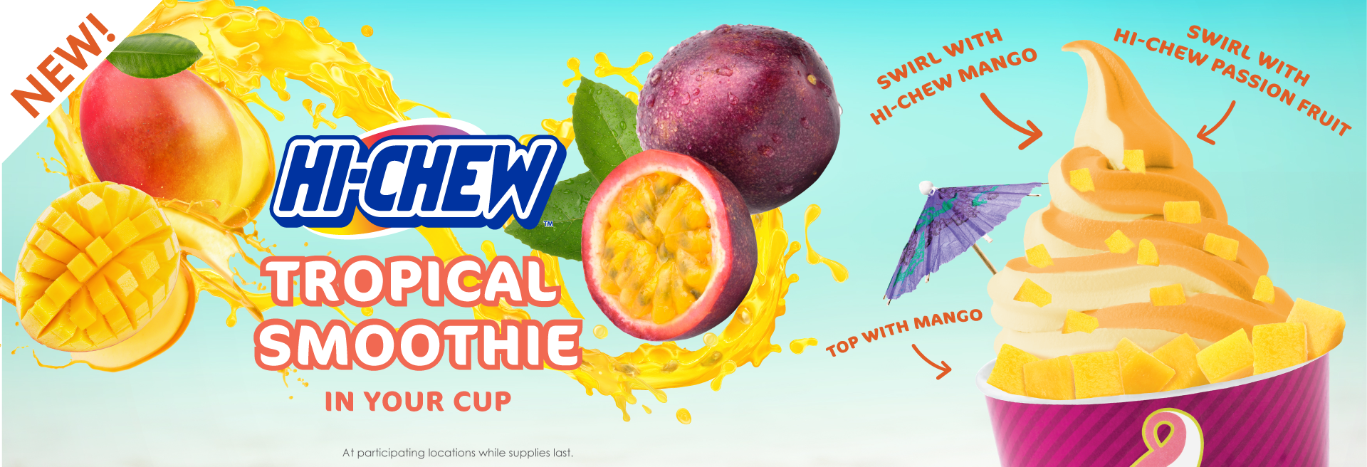 Double up for a delicious new flavor! When you swirl HI-CHEW Mango and HI-CHEW Passion Fruit you get a tasty summer treat.