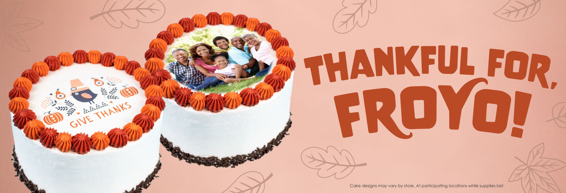 "Thanksgiving dessert just got even better with Menchie's ""Give Thanks"" froyo cake! Our cakes are made in-house and are customizable with your favorite frozen yogurt flavors and toppings."