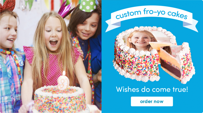 Order your custom Frozen Yogurt Cake today!