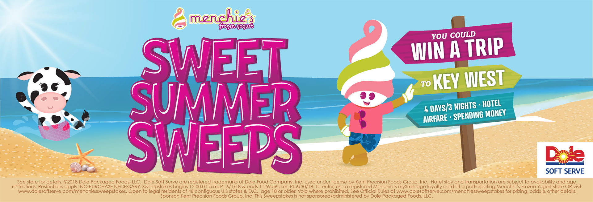 Menchie on the beach leaning against large letters that spell SWEET SUMMER SWEEPS