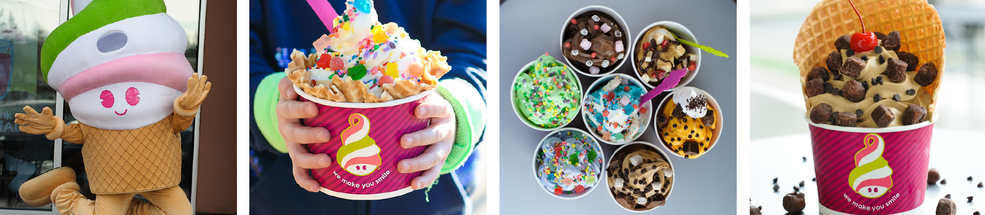 A variety of Menchie's frozen yogurt flavors and cups