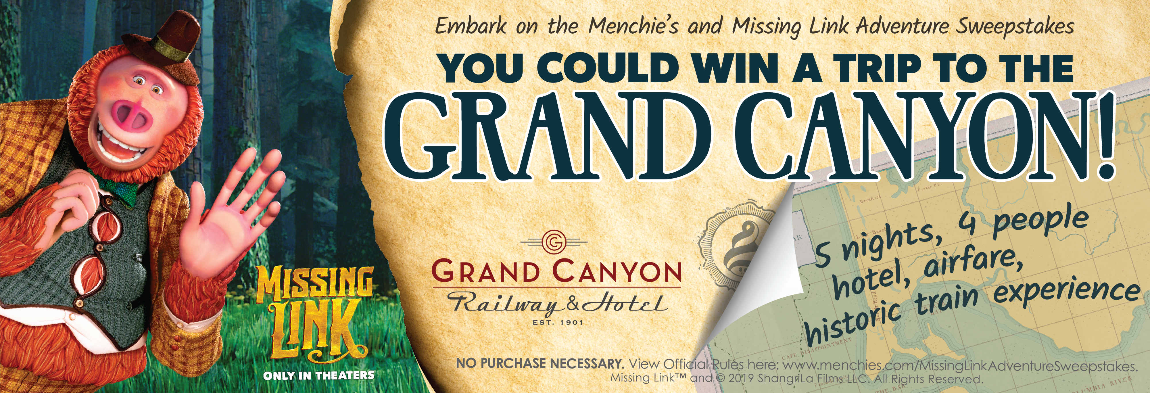 Missing Link Sweepstakes. Embark on the Menchie's and Missing Link Adventure Sweepstakes for a chance to win a trip to the Grand Canyon! 5 nights, 4 people, hotel, airfare and historic train experience.