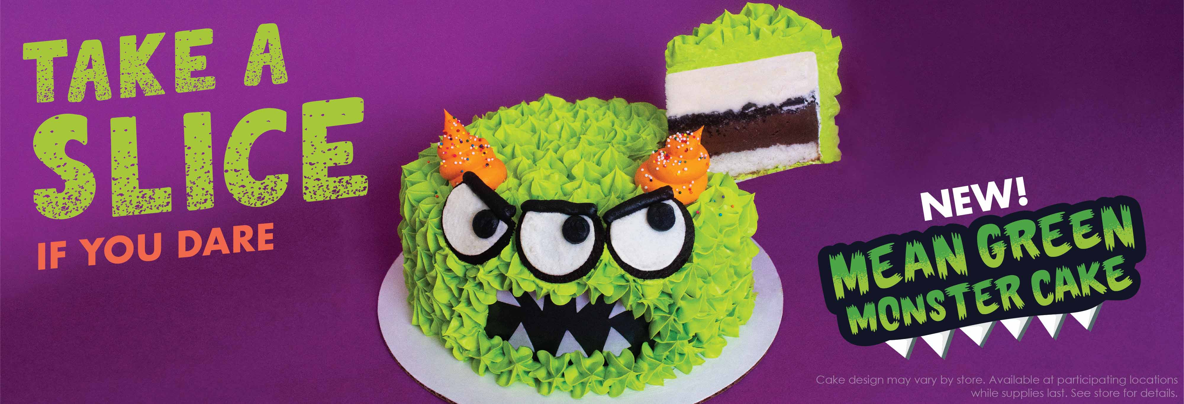 An image of Menchie's Mean Green Monster Frozen Yogurt Cake. Try one of our new Monster Cakes, if you dare! Pick up one of our Mean Green Monster, Mellow Yellow Monster or Big Eyed Blue Monster for your October party today!