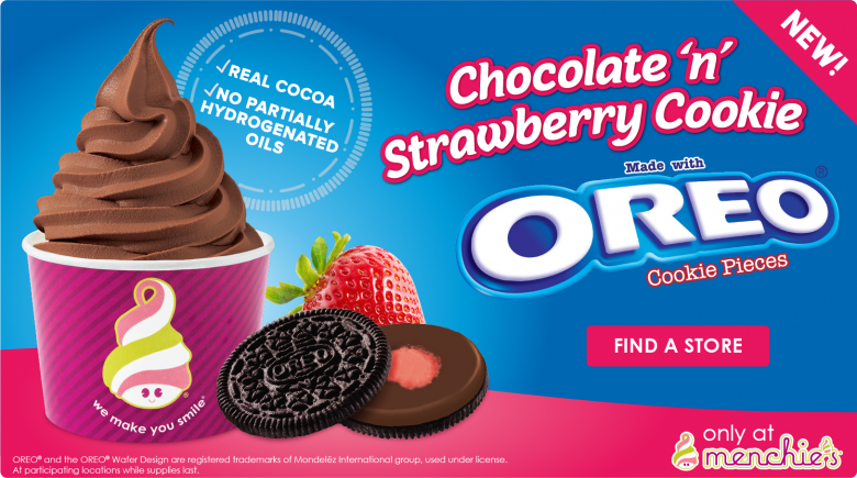 New! Flavor Chocolate n' Strawberry Cookie made with Oreo Cookie Pieces