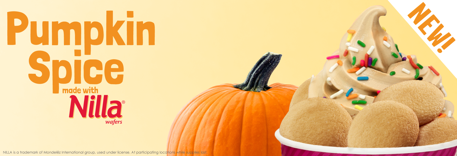 It's fall so you know what that means...it's time for Pumpkin froyo! This delicious flavor is made with real Nilla Wafers, cinnamon, and has no artificial colors.