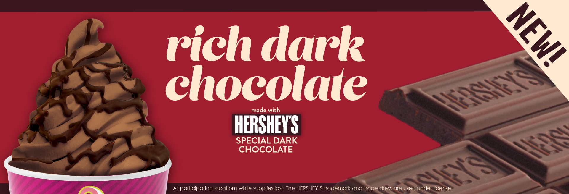Life is better with chocolate. Menchie's Rich Dark Chocolate made with Hershey's Special Dark Chocolate is a decadent dark chocolate frozen yogurt flavor that will satisfy all your chocolate cravings.