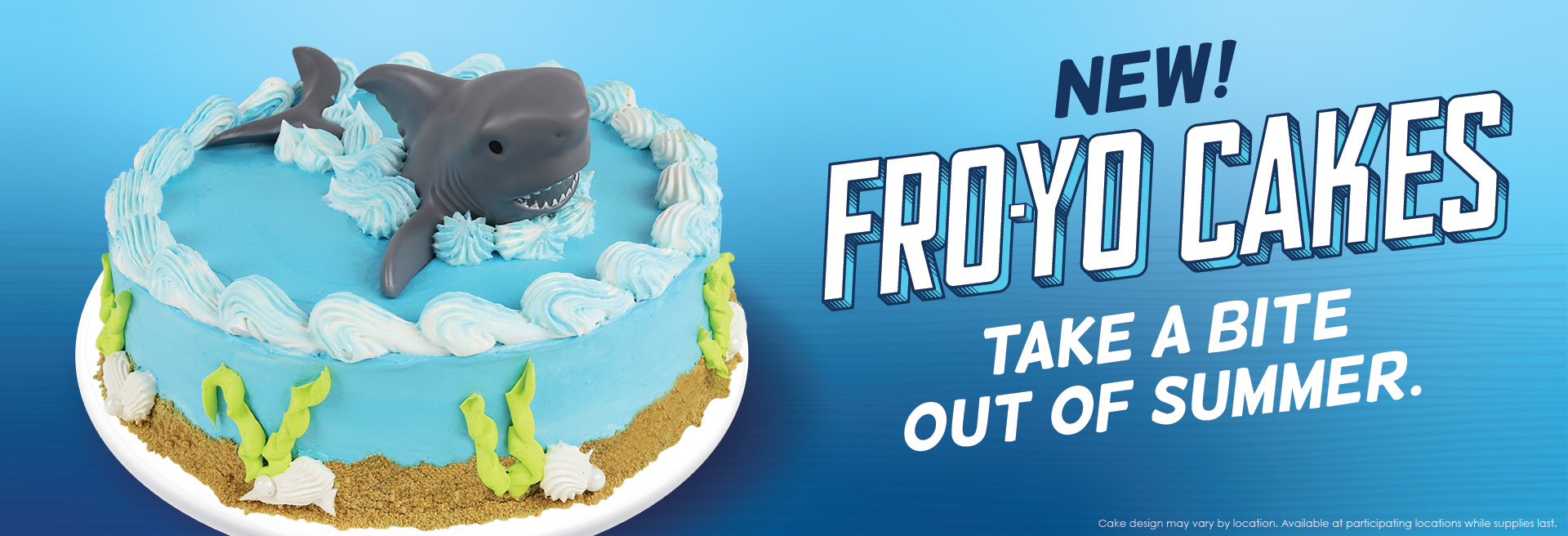 An image of the Shark Creations Frozen Yogurt Cake. Take a bite out of Summer with our Shark Creations Cake. Call a store or order online one today - only from Menchie's.