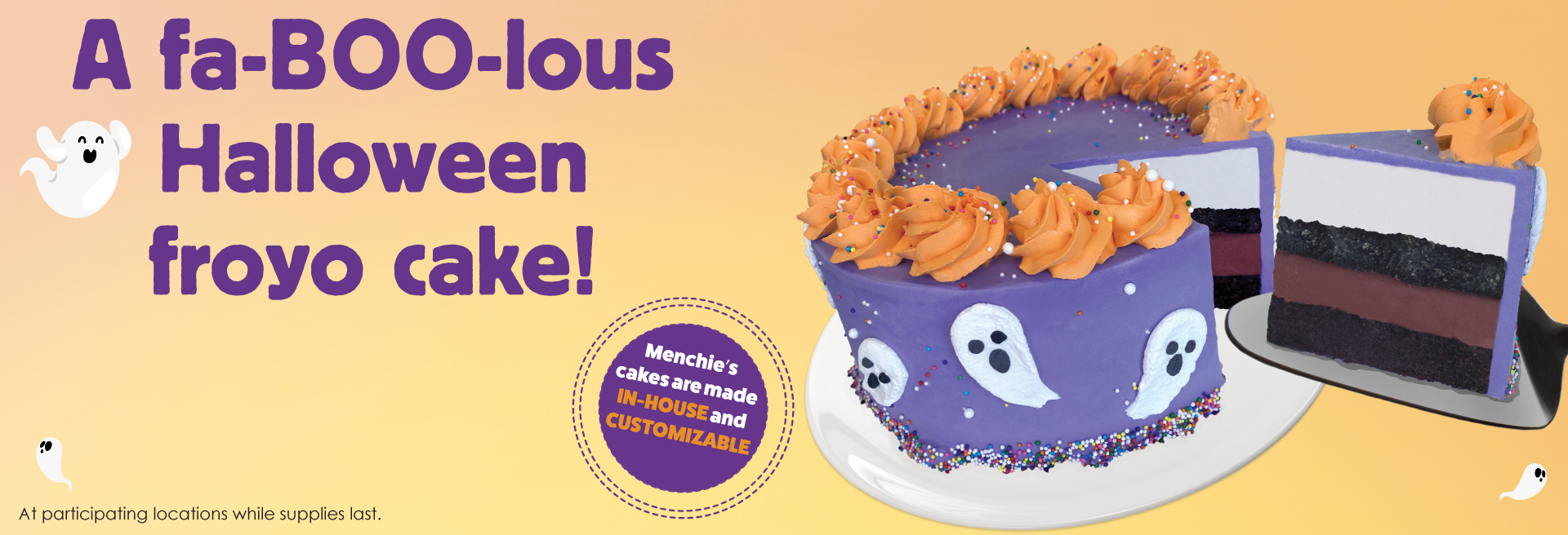 This Halloween, something better than ice cream cake awaits you. Menchie's Spooky Boo froyo cake is a great addition to any Halloween festivity – it's BOO-licious!