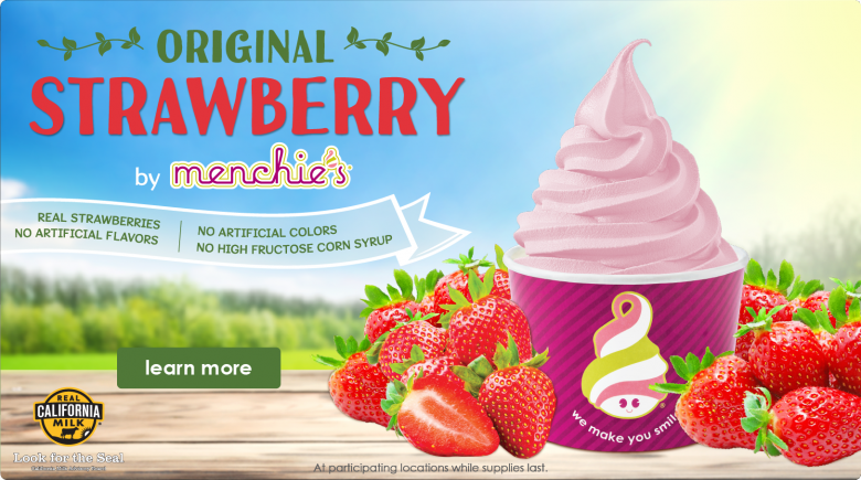 Introducing Menchie's Original Strawberry flavor.  Click to learn more!
