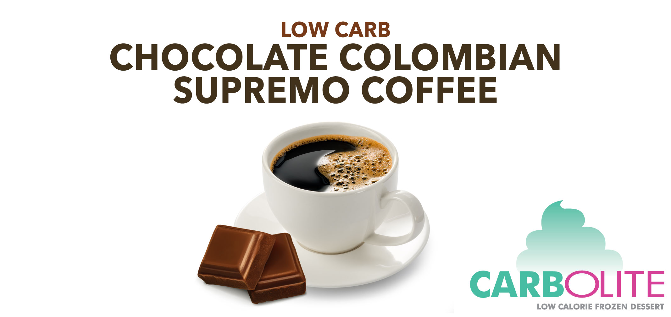 carbolite low carb no sugar added chocolate colombian supremo coffee label image
