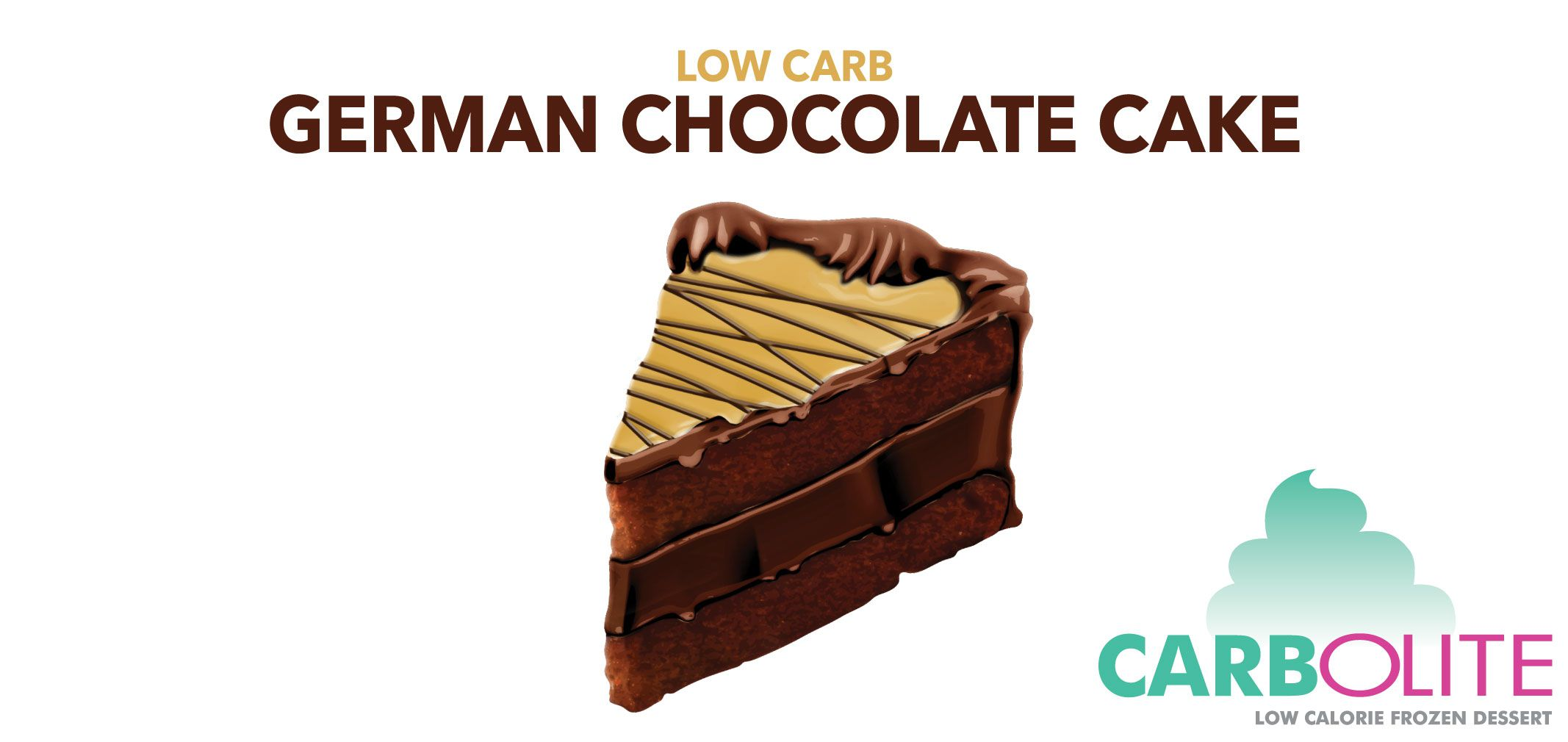 carbolite low carb no sugar added german chocolate cake  label image