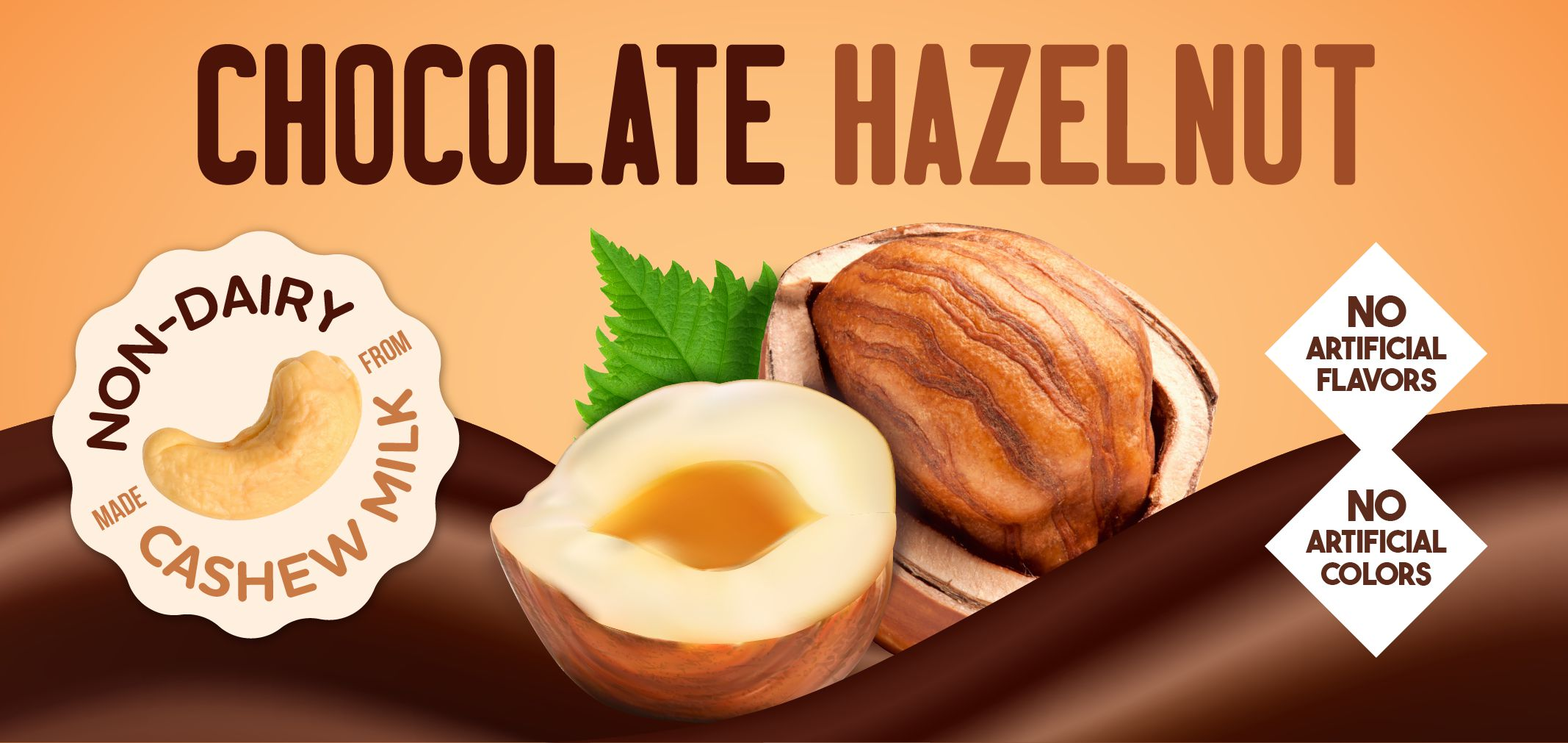 chocolate hazelnut made from cashew milk label image
