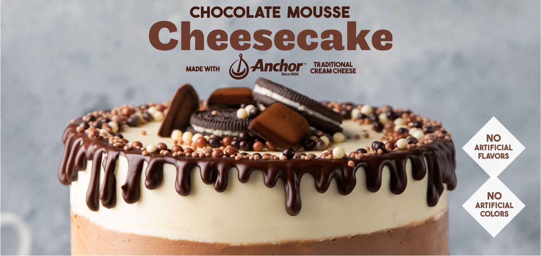 chocolate mousse cheesecake made with anchor (TM) traditional cream cheese label image