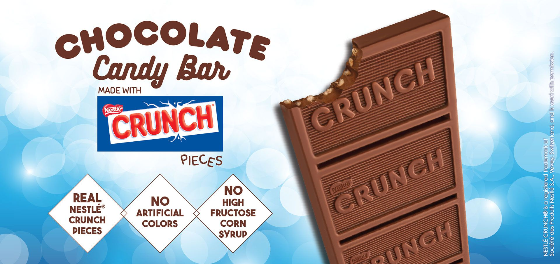 chocolate candy bar made with nestlé® crunch® pieces label image