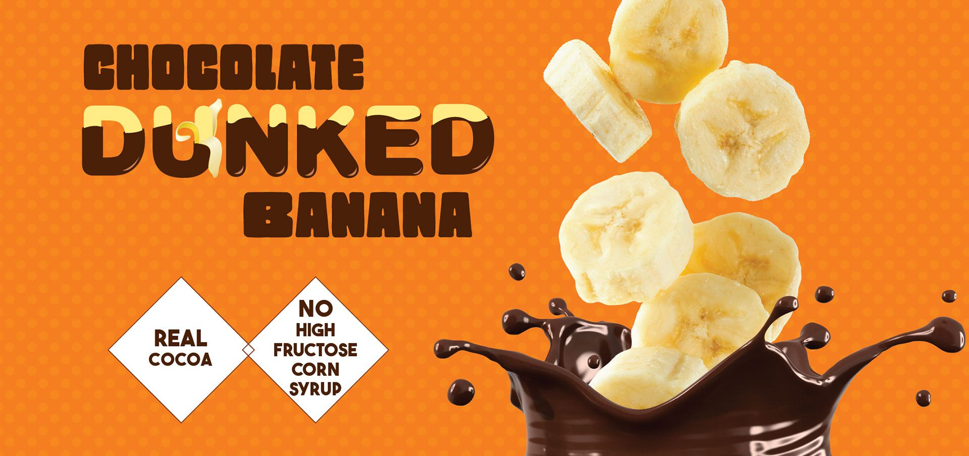 chocolate dunked banana label image