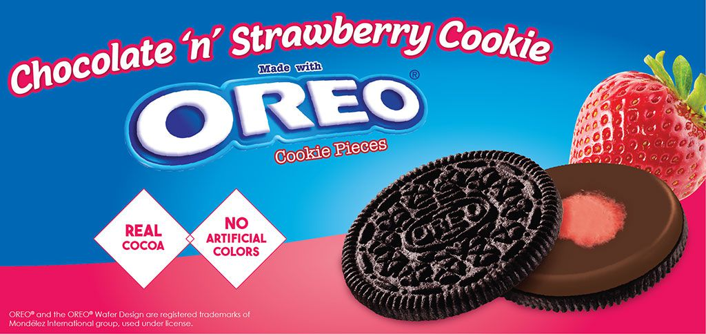 chocolate 'n' strawberry cookie made with OREO® cookie pieces label image