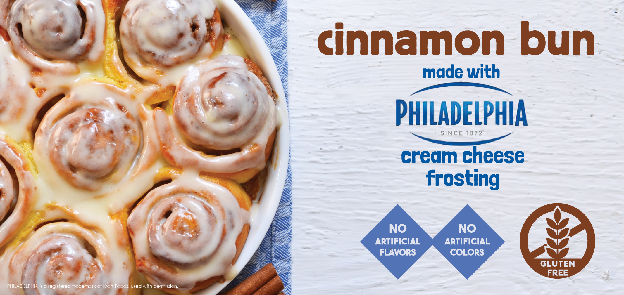 Cinnamon Bun made with Philadelphia Cream Cheese Frosting label image
