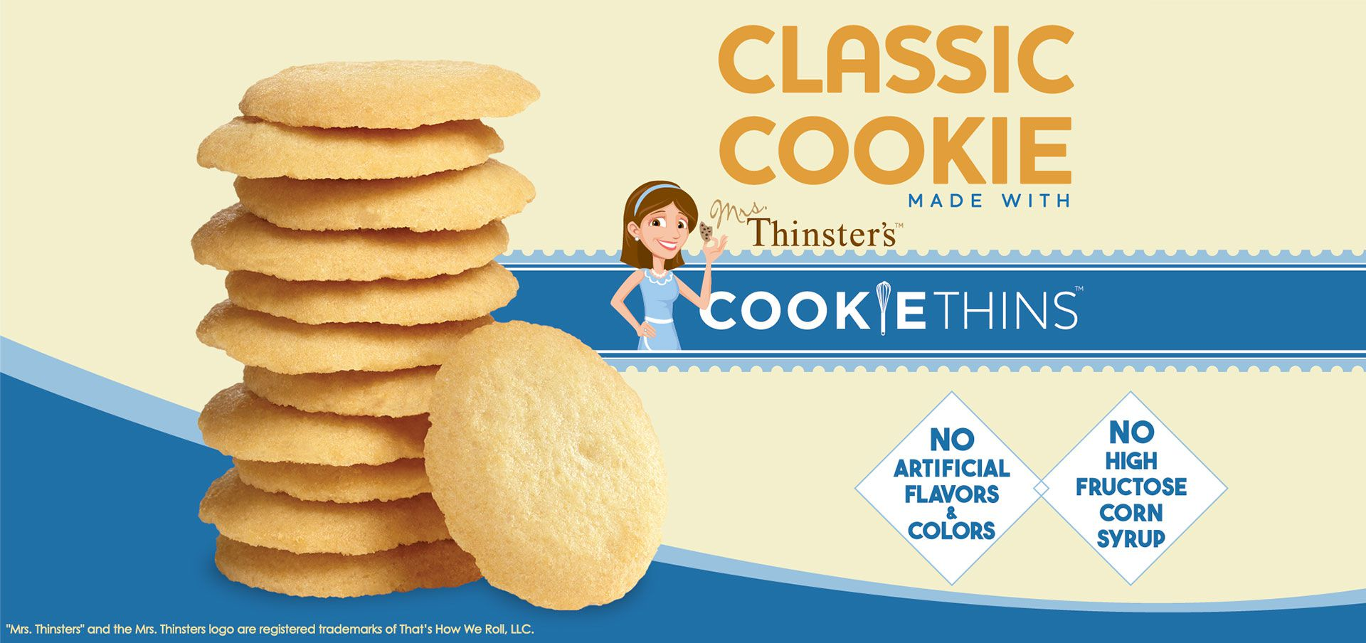 classic cookie made with mrs. thinster's cookie thins label image