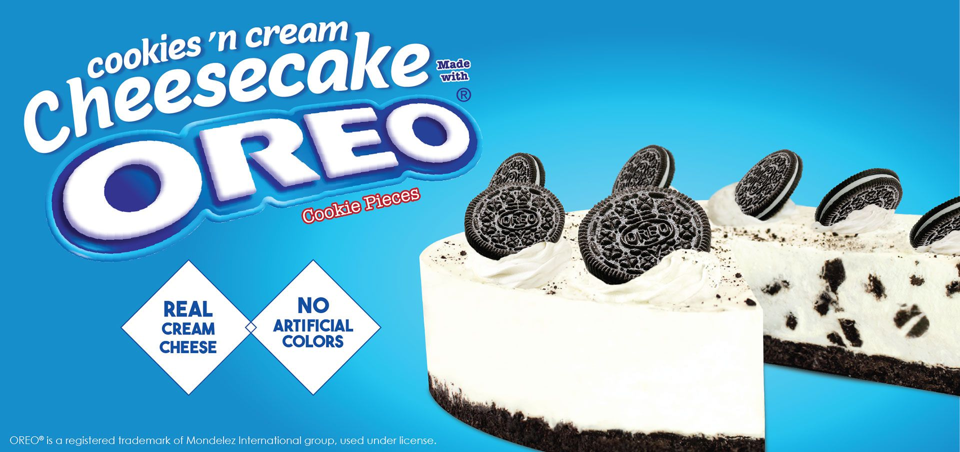 cookies 'n cream cheesecake made with oreo® cookie pieces label image