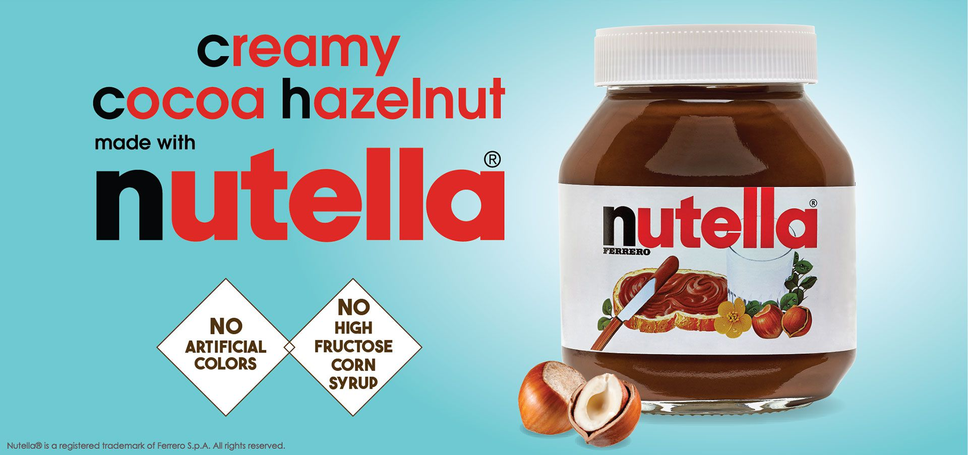 creamy cocoa hazelnut made with nutella® label image
