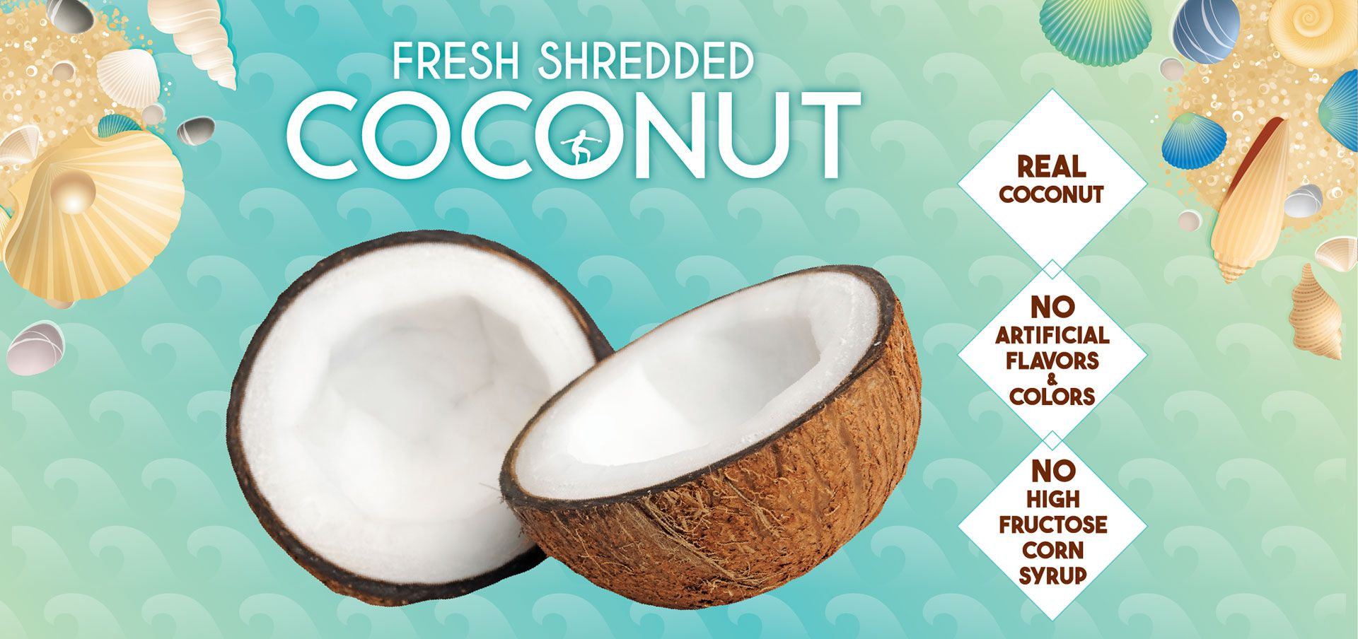 fresh shredded coconut label image
