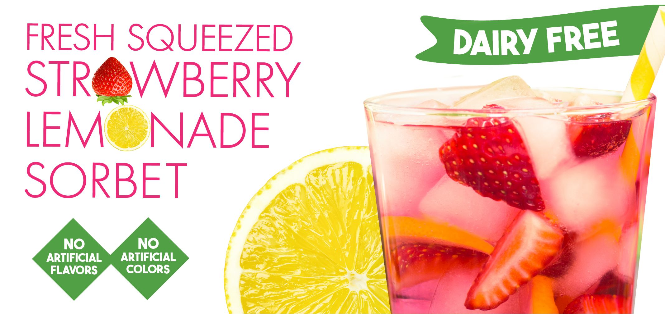 fresh squeezed strawberry lemonade sorbet label image