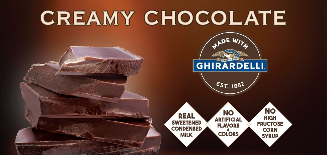 creamy chocolate made with ghirardelli® label image