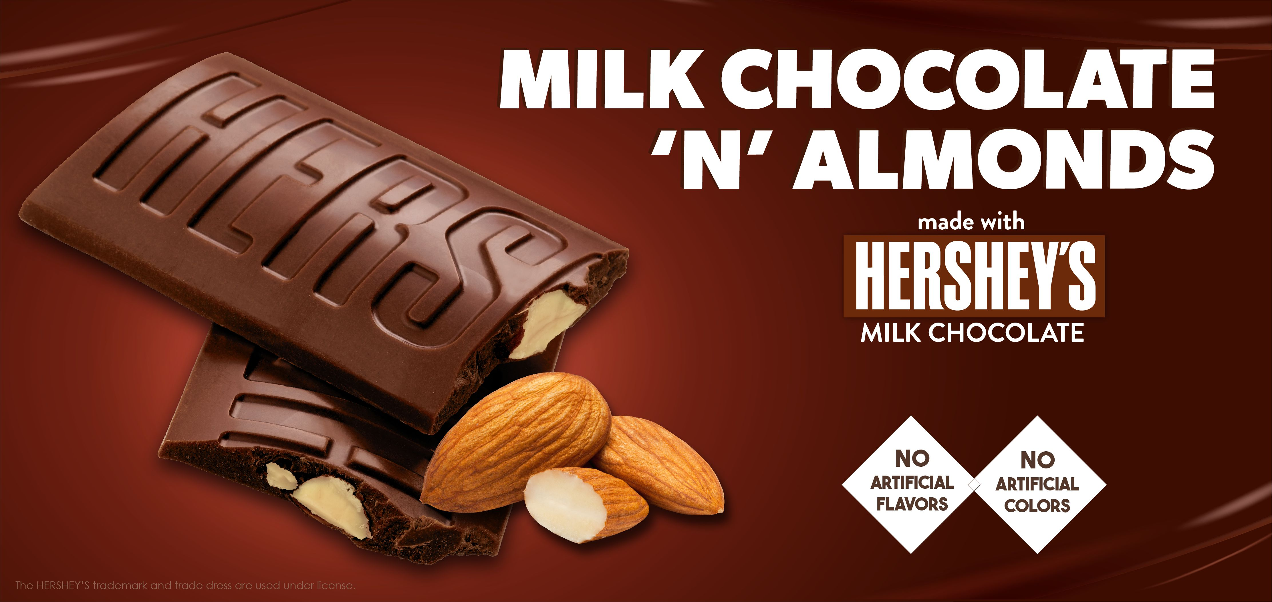 milk chocolate 'n' almonds made with hershey's® chocolate label image