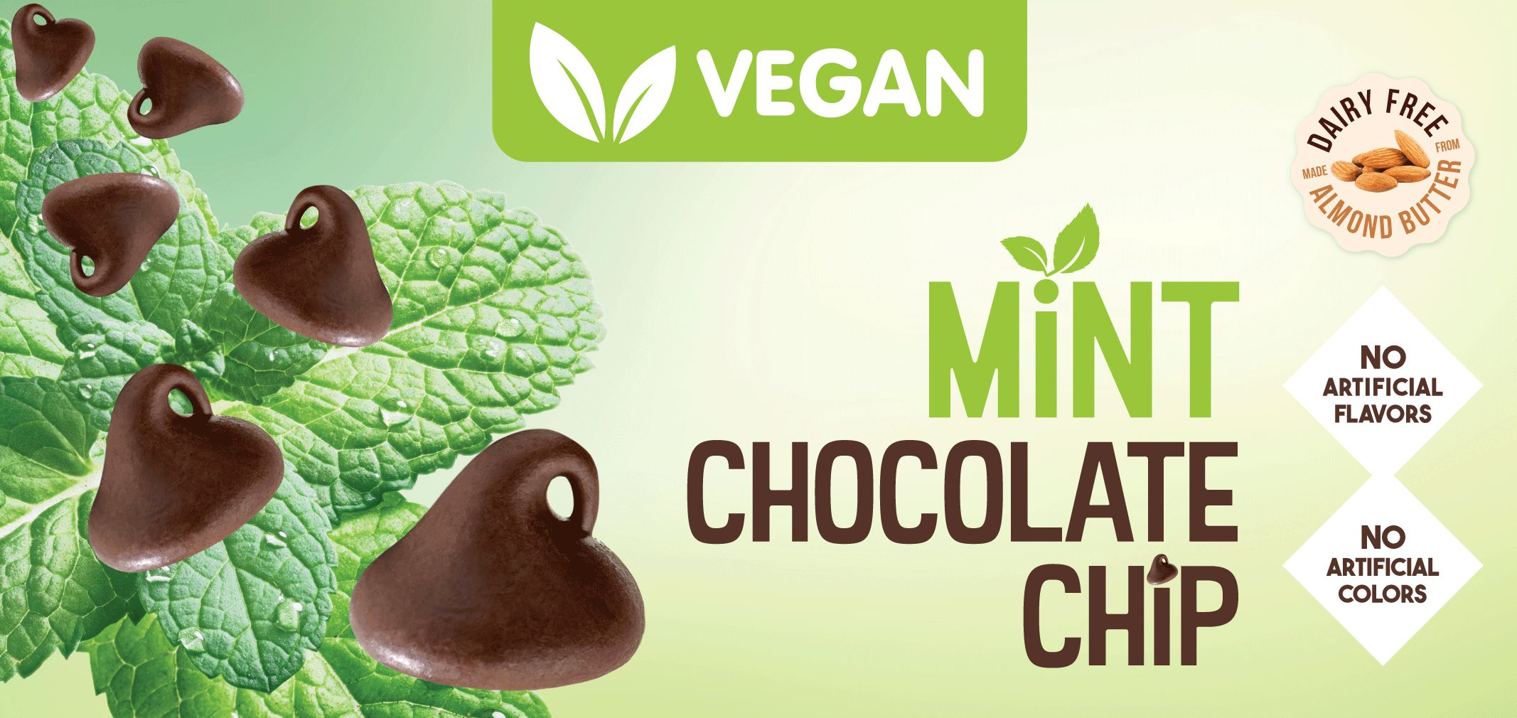 vegan mint chocolate chip made with almond butter label image