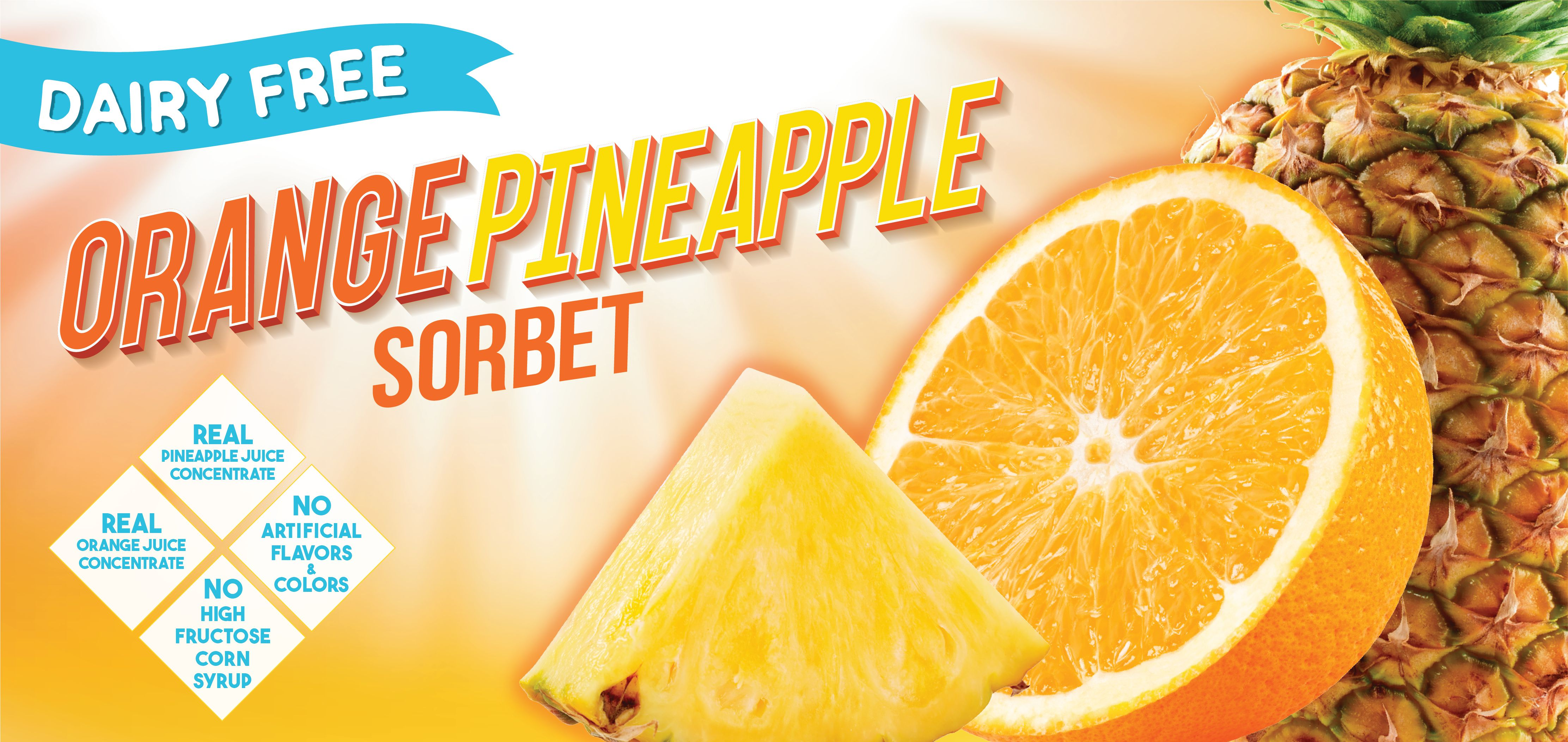 orange pineapple sorbet label image