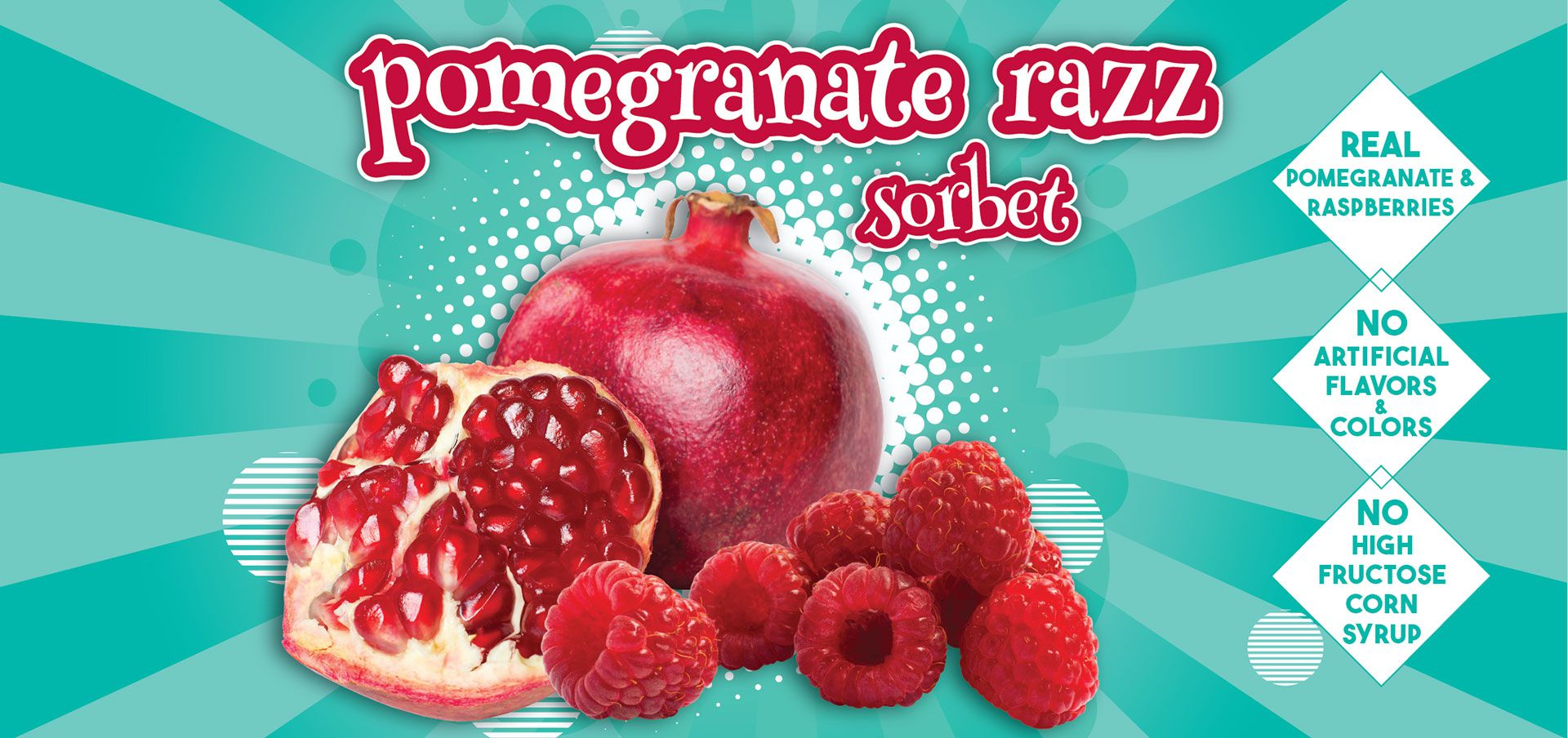pomegranate razz sorbet label image