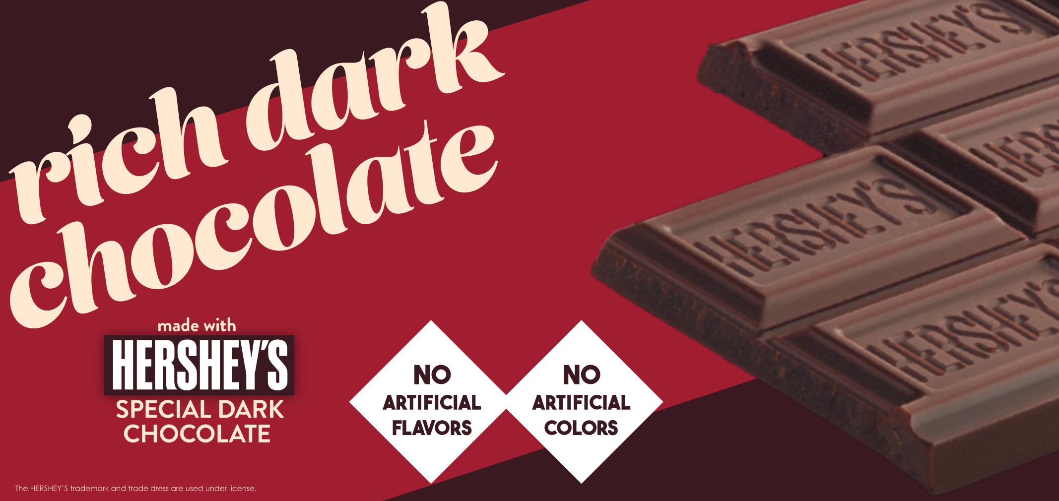 rich dark chocolate made with Hershey's® Special Dark chocolate  label image