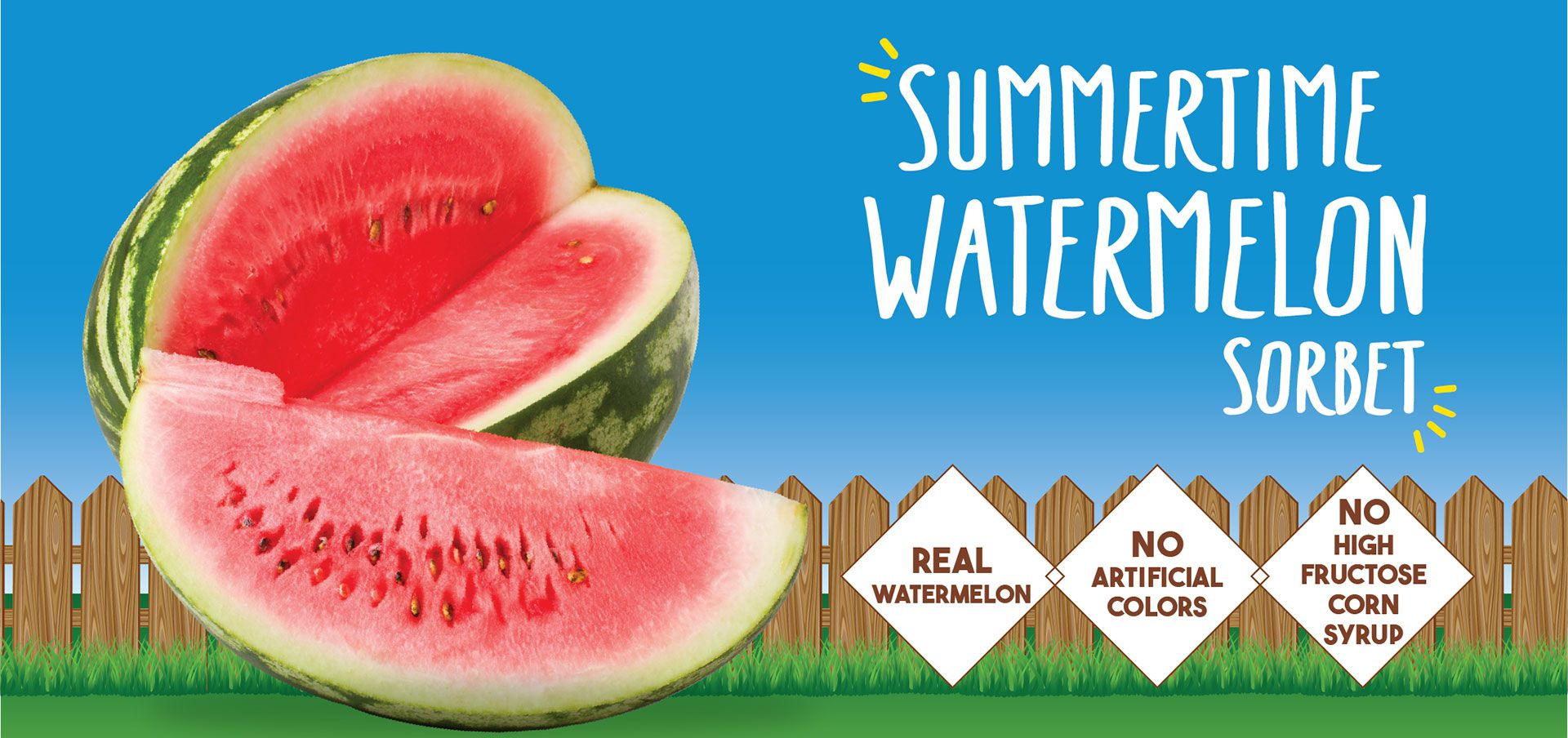 summertime watermelon sorbet label image