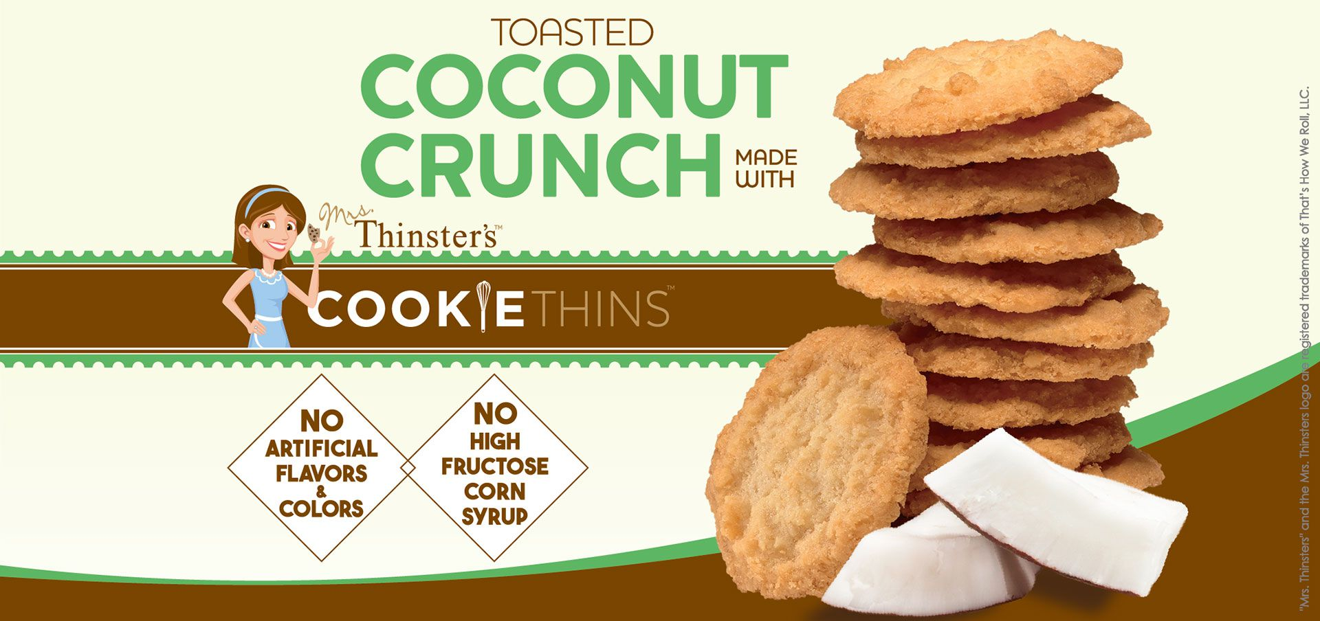 toasted coconut crunch made with mrs. thinster's cookie thins label image