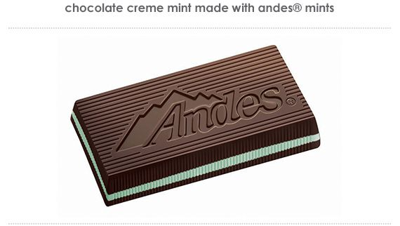 chocolate crème mint made with andes mints