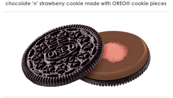 Chocolate 'n' Strawberry cookie made with OREO® cookie pieces