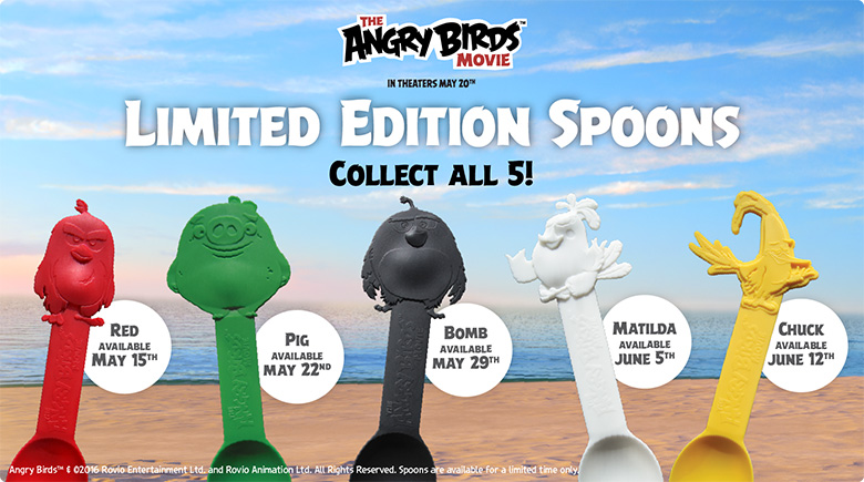 The Angry Birds Movie: Limited Edition Spoons. Collect all 5!
