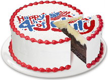 A Menchie's cake that says 'Happy 4th of July' on top
